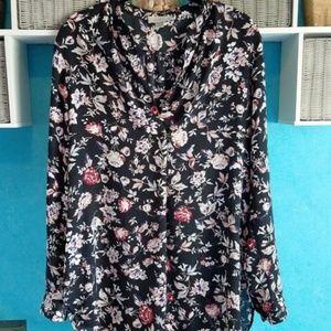 Loft Outlot Black Floral Tunic Blouse EUC